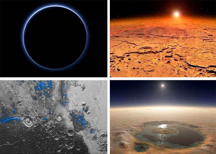 Голубой Плутон и озера на Марсе