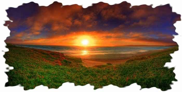 Море, трава и закат